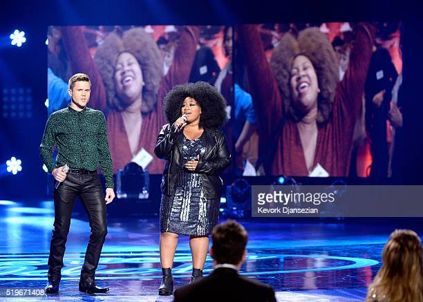"""Singers Trent Harmon and La'Porsha Renae perform onstage during FOX's """"American Idol"""" Finale For The Farewell Season at Dolby Theatre on April 7,..."""