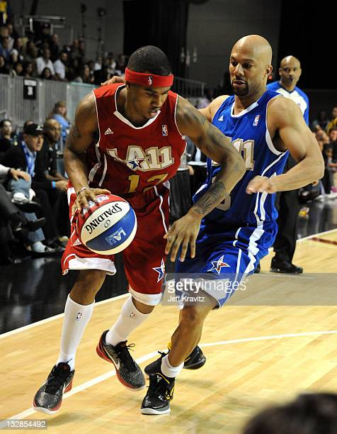 Singers Trey Songz and Common during the 2011 BBVA NBA All-Star Celebrity Game at Los Angeles Convention Center on February 18, 2011 in Los Angeles,...