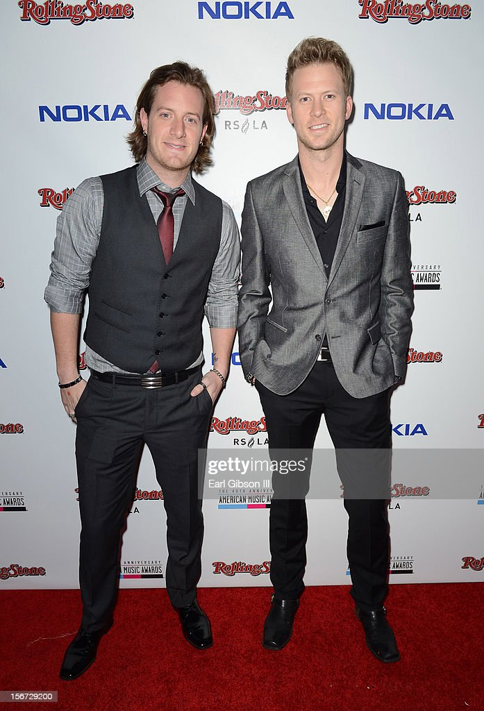 Singers Tyler Hubbard (L) and Brian Kelley of Florida Georgia Line arrive at Rolling Stone Magazine Official 2012 American Music Awards VIP After Party presented by Nokia and Rdio at Rolling Stone Restaurant And Lounge on November 18, 2012 in Los Angeles, California.