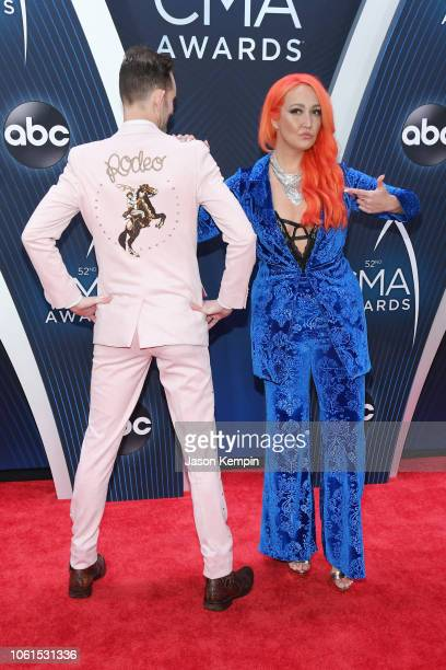 Singers Tylerr Cain and Meghan Linsey attends the 52nd annual CMA Awards at the Bridgestone Arena on November 14 2018 in Nashville Tennessee