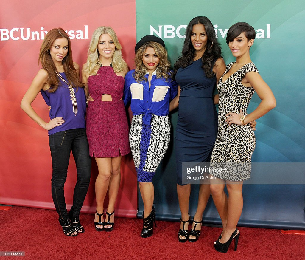 Singers Una Healy, Mollie King, Vanessa White, Rochelle Humes and Frankie Sandford of The Saturdays pose at the 2013 NBC Universal TCA Winter Press Tour Day 2 at The Langham Huntington Hotel and Spa on January 7, 2013 in Pasadena, California.