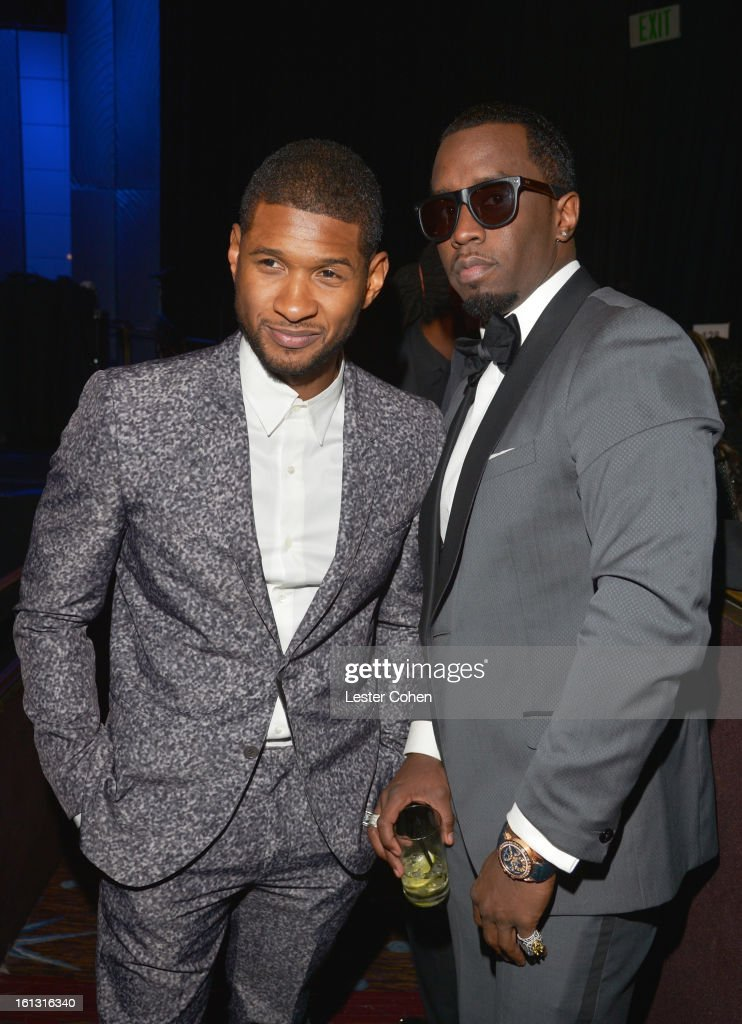 Singers Usher and Sean 'Puffy' Combs attend the 55th Annual GRAMMY Awards Pre-GRAMMY Gala and Salute to Industry Icons honoring L.A. Reid held at The Beverly Hilton on February 9, 2013 in Los Angeles, California.