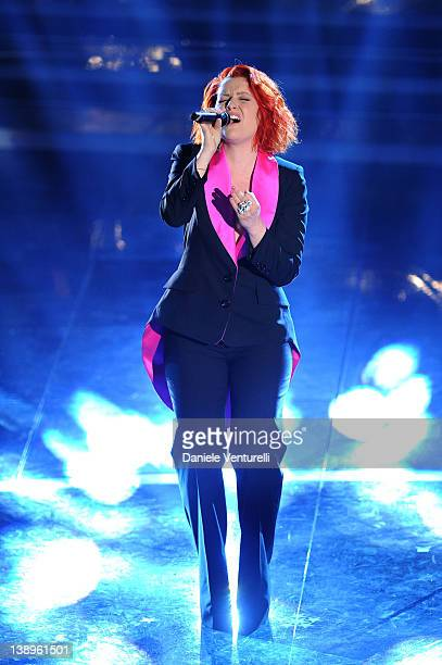 Singers Veronica Scopelliti known as Noemi performs on stage at the opening night of the 62th Sanremo Song Festival at the Ariston Theatre on...