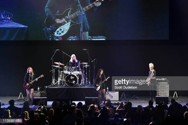 Singers Vicki Peterson Debbi Peterson Susanna Hoffs and Annette Zilinskas of The Bangles perform onstage during 80's Weekend at Microsoft Theater on...