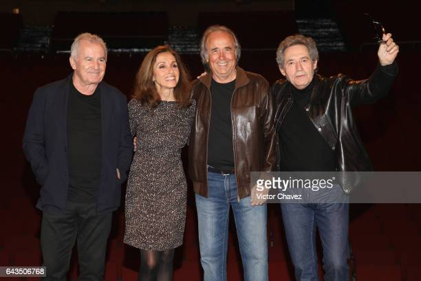 Singers Victor Manuel Ana Belen Joan Manuel Serrat and Miguel Rios attend a press conference to promote their tour El Gusto Es Nuestro 20 Anos at...