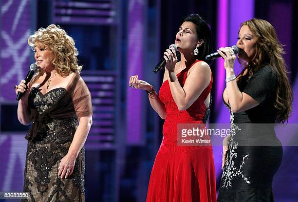 Singers Vikki Carr Olga Tanon and Jenni Rivera perform onstage during the 9th annual Latin GRAMMY awards held at the Toyota Center on November 13...