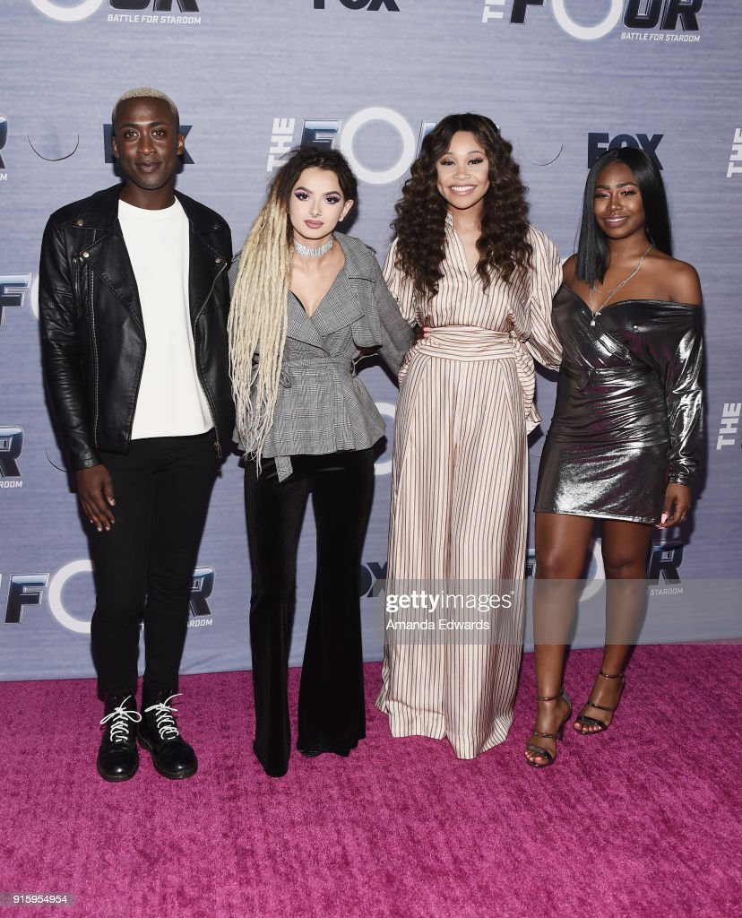 Singers Vincint, Zhavia, Evvie McKinney and Candice Boyd arrive at FOX's 'The Four: Battle For Stardom' Season Finale Viewing Party at Delilah on February 8, 2018 in West Hollywood, California.