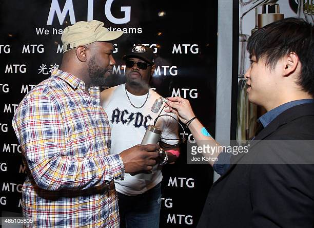 Singers Wanya Morris and Nathan Morris of Boyz II Men attend the GRAMMY Gift Lounge during the 56th Grammy Awards at Staples Center on January 25...
