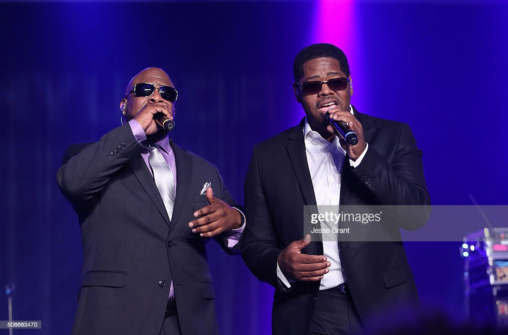 Singers Wanya Morris and Nathan Morris of Boyz II Men perform during the 47th NAACP Image Awards Presented By TV One After Party at the Pasadena Civic Auditorium on February 5, 2016 in Pasadena, California.