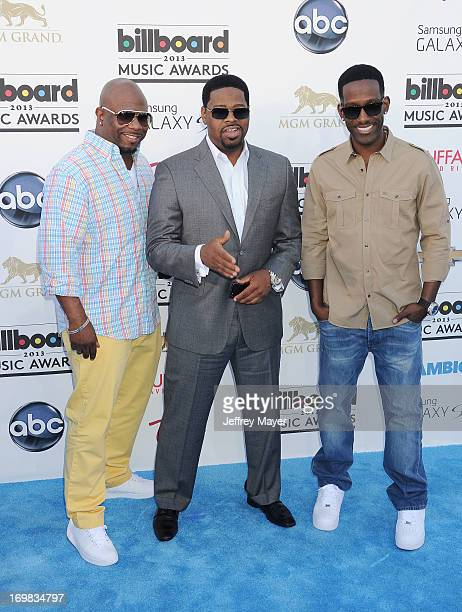 Singers Wanya Morris Nate Morris and Shawn Stockman of Boyz II Men arrive at the 2013 Billboard Music Awards at the MGM Grand Garden Arena on May 19...