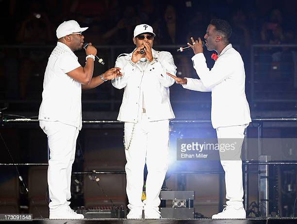 Singers Wanya Morris Nathan Morris and Shawn Stockman of Boyz II Men perform at the Mandalay Bay Events Center during The Package Tour on July 6 2013...