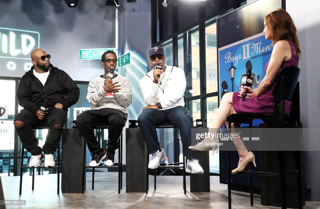 Singers Wanya Morris, Shawn Stockman and Nathan Morris of Boyz II Men attend Build to discuss their album 'Under the Streetlight' at Build Studio on October 19, 2017 in New York City.
