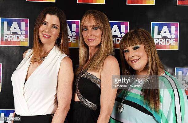 Singers Wendy Wilson Chynna Phillips and Carnie Wilson of the band Wilson Phillips pose backstage at LA Pride 2015 by Christopher Street West on June...