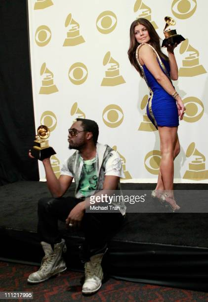 Singers william and Fergie of Black Eyed Peas pose in the press room at the 52nd Annual GRAMMY Awards held at Staples Center on January 31 2010 in...