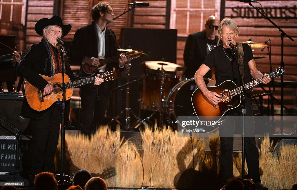 Singers Willie Nelson (L) and Kris Kristofferson perform onstage during the 56th GRAMMY Awards at Staples Center on January 26, 2014 in Los Angeles, California.