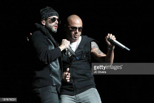 Singers Wisin Yandel perform on stage during KXOL Latino 963 FMs 'CALIBASH 2012' concert at Staples Center on January 24 2012 in Los Angeles...