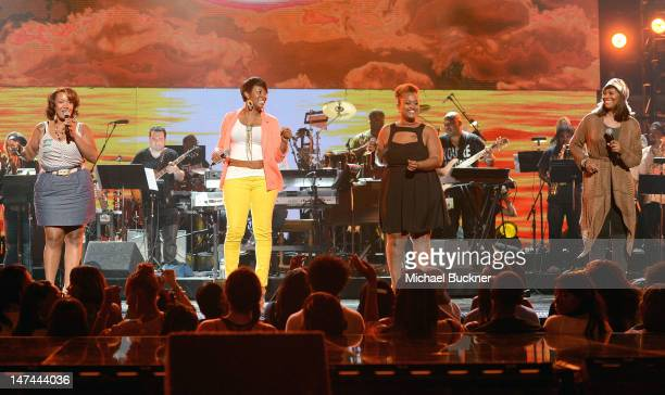 Singers Y'Anna Crawley, Jessica Reedy, Amber Bullock and Yolanda Adams perform onstage at day 2 of the 2012 BET Awards rehearsals held at The Shrine...