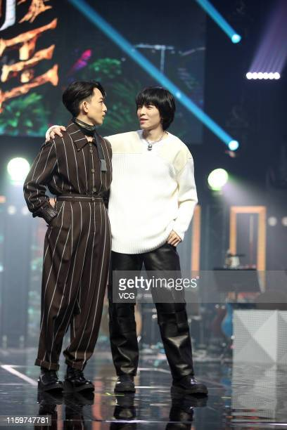 Singers Yoga Lin and Jam Hsiao attend a press conference for television show 'Jungle Voice' on July 2 2019 in Taipei Taiwan of China