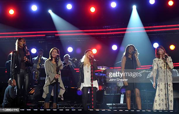 Singers Yolanda Adams Martina McBride Christina Aguilera Jennifer Hudson and Florence Welch perform onstage during day one of The 53rd Annual GRAMMY...