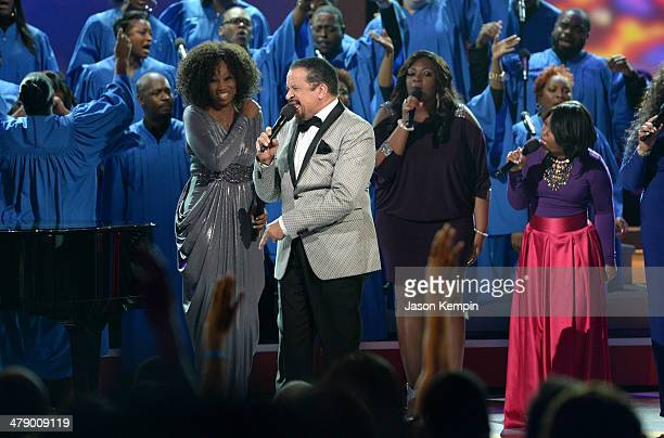 Singers Yolanda Adams Richard Smallwood Candice Glover and Maurette Brown Clark perform onstage during BET Celebration of Gospel 2014 at Orpheum...