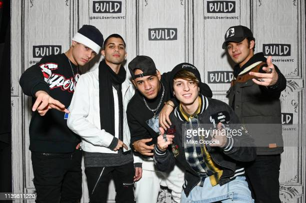 Singers Zabdiel de Jesús, Erick Brian Colón, Richard Camacho, Christopher Velez, and Joel Pimentel of the band CNCO visits Build Studio on April 01,...