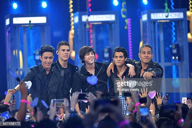 Singers Zabdiel de Jesus, Richard Camacho, Erick Brian Colon, Joel Pimentel and Christopher Velez of CNCO perform onstage at the Univision's 13th...