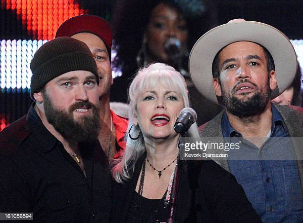 Singers Zac Brown Emmylou Harris and Ben Harper perform onstage at The 2013 MusiCares Person Of The Year Gala Honoring Bruce Springsteen at Los...