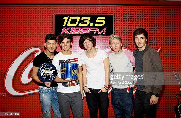 Singers Zayn Malik Louis Tomlinson Harry Styles Niall Horan and Liam Payne of the BritishIrish boy band One Direction performs in the KISSFM CocaCola...