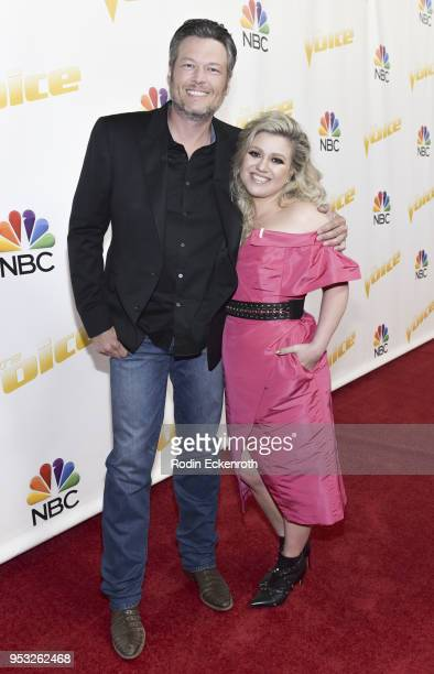 Singers/coaches Blake Shelton and Kelly Clarkson attend NBC's The Voice Season 14 on April 30 2018 in Universal City California
