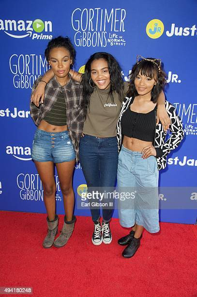 Singer/sisters Sierra Aylina McClain China Anne McClain and Lauryn Alisa McClain attend the Just Jared Fall Fun Day on October 24 2015 in Los Angeles...