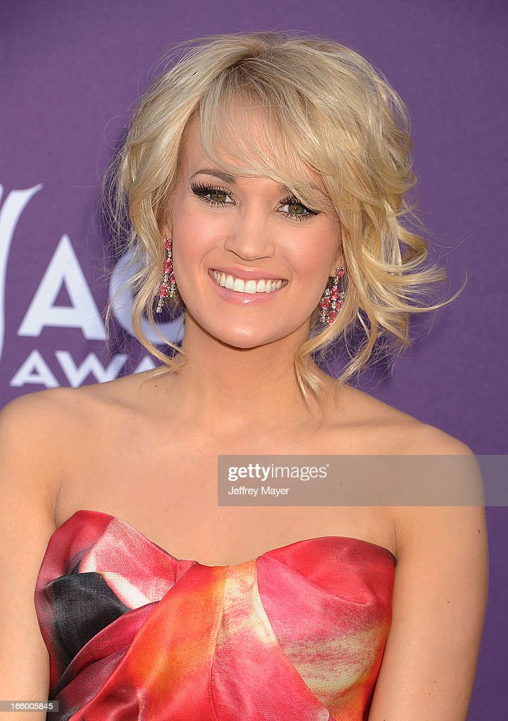 Singers/musicians Carrie Underwood arrives at the 48th Annual Academy of Country Music Awards at MGM Grand Garden Arena on April 7, 2013 in Las Vegas, Nevada.