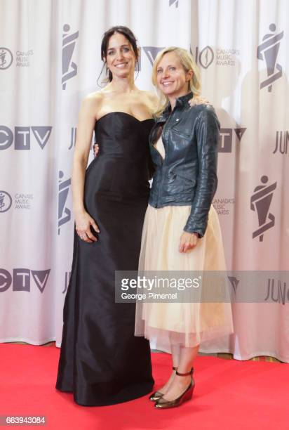 Singer/Song Writer Chantal Kreviazuk and Dr Samantha Nutt pose in the press room during the 2017 Juno Awards held at Canadian Tire Centre on April 2...