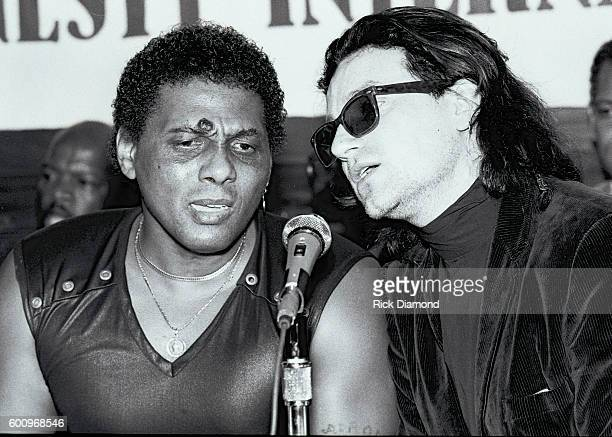 Singer/Songwriter Aaron Neville and U2's Bono attend a press conference discussing The Conspiracy of Hope tour celebrating Amnesty International's...