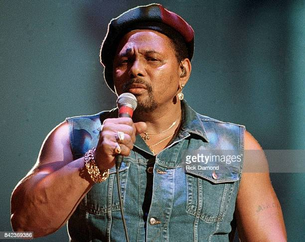 Singer/Songwriter Aaron Neville performs during Elvis The Tribute at The Pyramid Arena in Memphis Tennessee October 08 1994