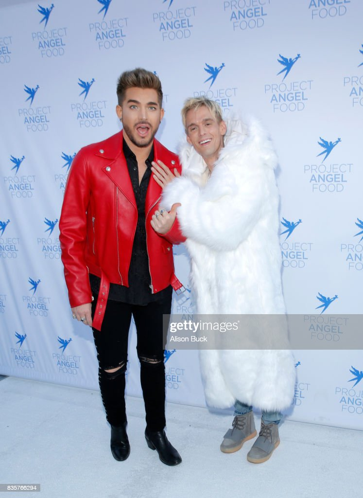 Singer/songwriter Adam Lambert and singer Aaron Carter attend Project Angel Food's 2017 Angel Awards on August 19, 2017 in Los Angeles, California.