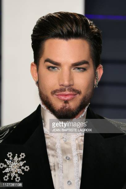 US singersongwriter Adam Lambert attends the 2019 Vanity Fair Oscar Party following the 91st Academy Awards at The Wallis Annenberg Center for the...
