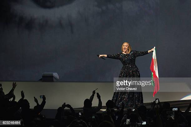 Singer/songwriter Adele performs on stage at Palacio De Los Deportes on November 14 2016 in Mexico City Mexico