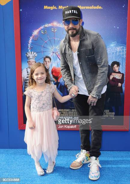 Singersongwriter AJ McLean and daughter Ava Jaymes McLean attend the Los Angeles Premiere 'Paddington 2' at Regency Village Theatre on January 6 2018...
