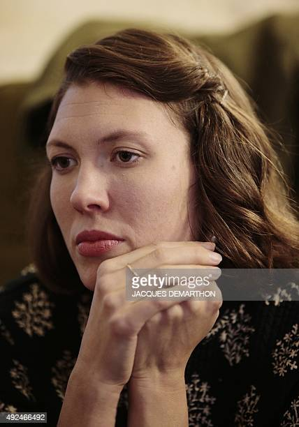 US singersongwriter Alela Diane looks on during an interview in Paris on October 13 2015 Diane's collaborative album 'Cold Moon' with US musician...