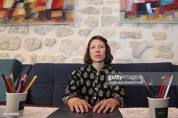 US singersongwriter Alela Diane poses in Paris on October 13 2015 Diane's collaborative album 'Cold Moon' with US musician Ryan Francesconi will be...
