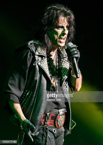 Singersongwriter Alice Cooper performs on stage at Queen Elizabeth Theatre on August 20 2018 in Vancouver Canada