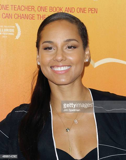 Singer/songwriter Alicia Keys attends the 'He Named Me Malala' New York premiere at the Ziegfeld Theater on September 24 2015 in New York City