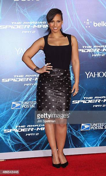 Singer/songwriter Alicia Keys attends the 'The Amazing SpiderMan 2' New York Premiere on April 24 2014 in New York City
