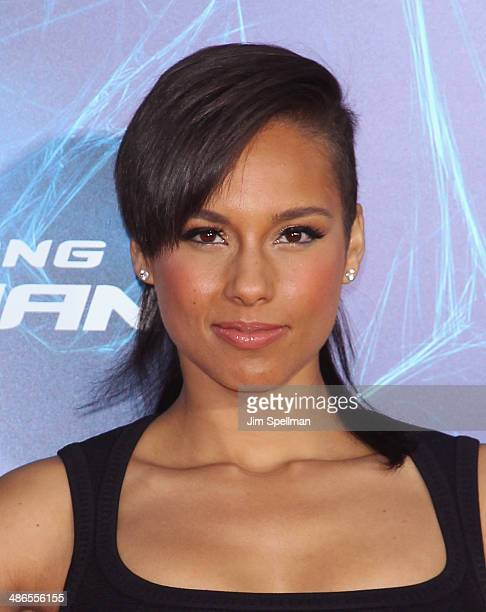 Singer/songwriter Alicia Keys attends the The Amazing SpiderMan 2 New York Premiere on April 24 2014 in New York City