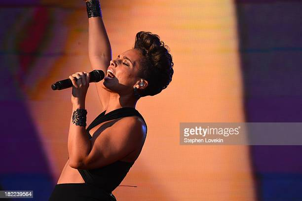 Singer-songwriter Alicia Keys performs at the 2013 Global Citizen Festival in Central Park to end extreme poverty on September 28, 2013 in New York...