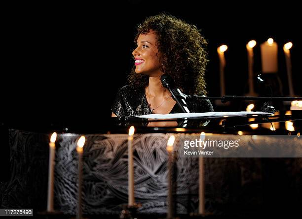 Singer/songwriter Alicia Keys performs at the Pantages Theatre on June 24 2011 in Hollywood California