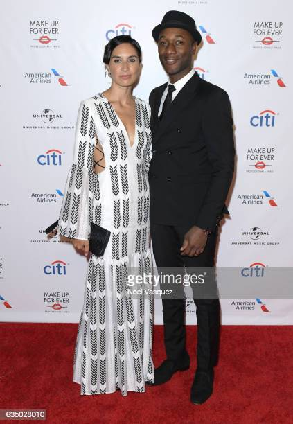Singersongwriter Aloe Blacc and rapper Maya Jupiter arrive at Universal Music Group 2017 Grammy after party presented by American Airlines and Citi...
