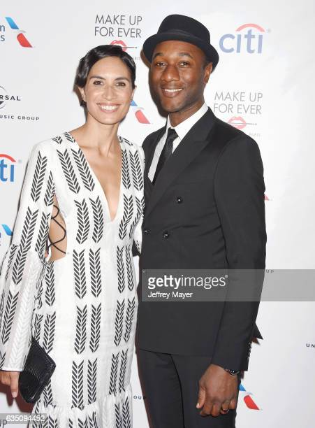 Singersongwriter Aloe Blacc and rapper Maya Jupiter arrive at the Universal Music Group's 2017 GRAMMY After Party at The Theatre at Ace Hotel on...