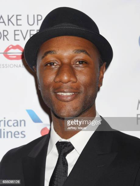 Singersongwriter Aloe Blacc arrives at the Universal Music Group's 2017 GRAMMY After Party at The Theatre at Ace Hotel on February 12 2017 in Los...