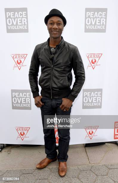 Singer/songwriter Aloe Blacc attends the GUESS x Peace Over Violence support Denim Day event at Third Street Promenade on April 26 2017 in Santa...